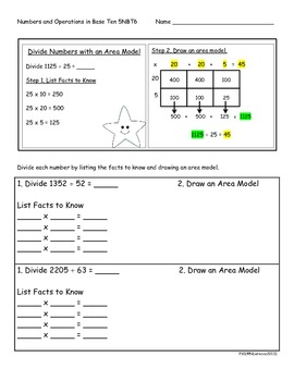 5.NBT.6 5th Grade Common Core Math Practice or Assessments Division Area Models