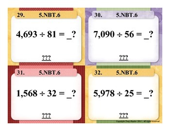 5.NBT.6 5th Grade Math Task Cards - 5 NBT.6 Find Quotients of Whole Numbers
