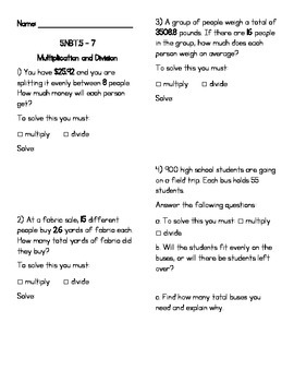 5.NBT.5, 6 & 7 Multiplication/Division WS (with word problems) (KEY INCLUDED)
