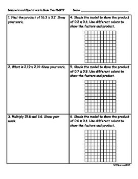 5.NBT.7 5th Grade Common Core Math Practice or Assessments Operations Decimals