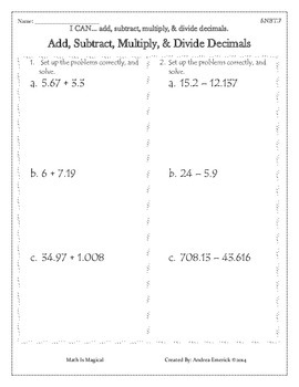 5.NBT.7 - Add, Subtract, Multiply, & Divide Decimals - CCSS