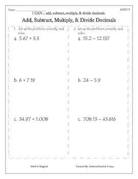 5.NBT.7 - Add, Subtract, Multiply, & Divide Decimals - CCSS