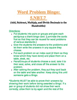5.NBT.7 Add, Subtract, Multiply, and Divide Decimal Word P