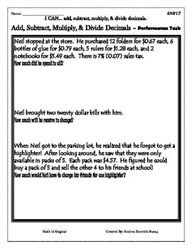 5.NBT.7 - Add, Subtract, Multiply, and Divide Decimals - Performance Task - CCSS