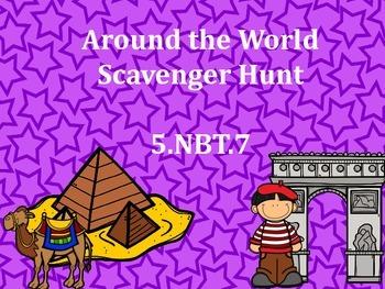 5.NBT.7 Around the World Scavenger Hunt