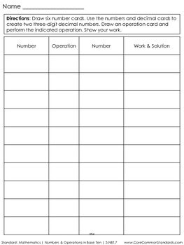 5.NBT.7 Fifth Grade Common Core Worksheets, Activity, and Poster