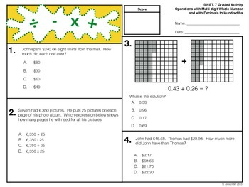 5.NBT.7 Graded Activity - Operations with Decimals To Hundredths