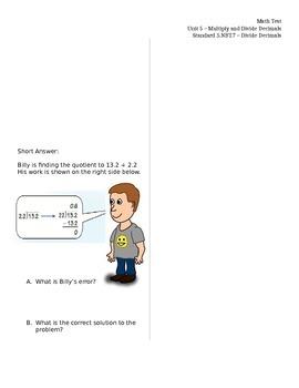 5.NBT.7 (dividing decimals ASSESSMENT Test)