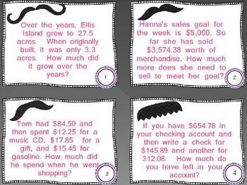 5.NBT.7 - task cards - adding/subtracting decimal word problems