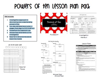 5.NBT.A.2 Powers of Ten Lesson Plan and Materials Pack