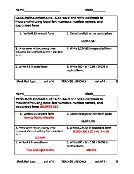 5.NBT.A.3 Read, Write and Compare Retake