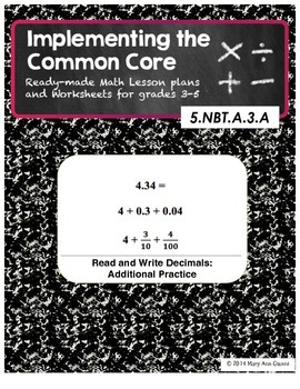 5.NBT.A.3.A Read and Write Decimals: Additional Practice Problems