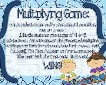 5.NBT.B.5 Multiplying by 2 & 3 digit numbers FULL lesson with game!