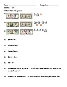 5.NBT.B.7 Money worksheet - test with visuals, word problems - add & subtract