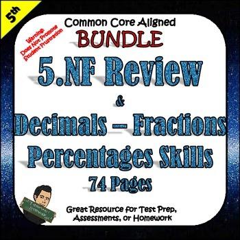 5th Grade Fractions Homework or Morning Work 5.NF