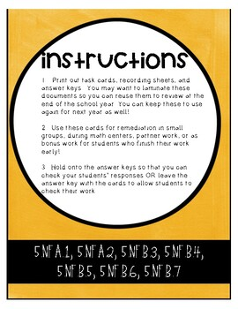 5NF CCSS Standard Based Task Cards - Includes All NF Standards for 5th Grade!