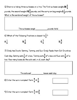 5.NF.1 & 2 Study Guide - Adding Unlike Fractions (KEY INCLUDED)
