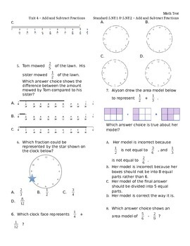 5.NF.1 & 5.NF.2 Add & Subtract Fractions ASSESSMENT Test