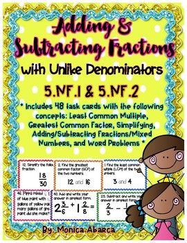 5.NF.1, 5.NF.2 - Adding & Subtracting Fractions w/ Unlike