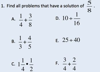 5.NF.1, 5.NF.4a, 5.NF.7 Operations with Fractions Game