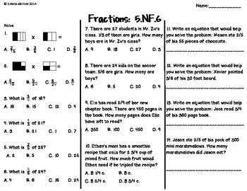 Fractions Tests 5th Grade
