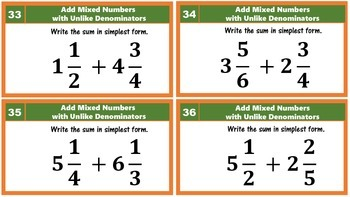 5.NF.1 Add Fractions with Unlike Denominators & Mixed Numbers Task Cards