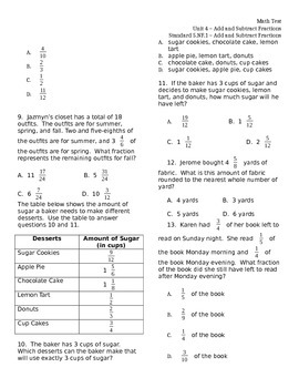 5.NF.1 Add & Subtract Fractions ASSESSMENT Test