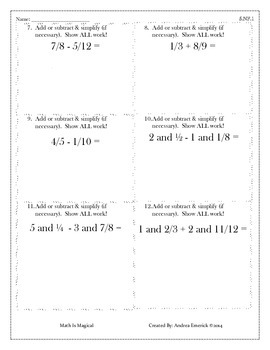 5.NF.1 - Add & Subtract Fractions - CCSS