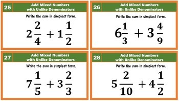 5.NF.1 Add & Subtract Fractions with Unlike Denominators Task Cards Bundled