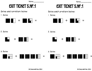 Add and Subtract Fractions With Unlike Denominators Math Tasks and Exit Tickets