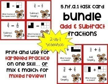 *BUNDLE* 5.NF.1 & 5.NF.2 Add & Subtract Fractions (Unlike Denominators)