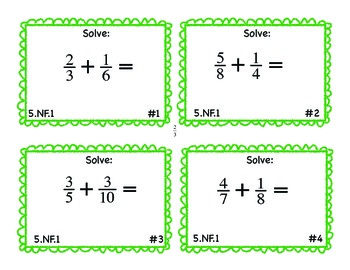 5.NF.1 Common Core Math Task Cards