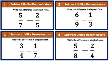 5.NF.1 Subtract Fractions with Unlike Denominators & Mixed Numbers Task Cards