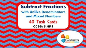 5.NF.1 Subtract Fractions with Unlike Denominators & Mixed