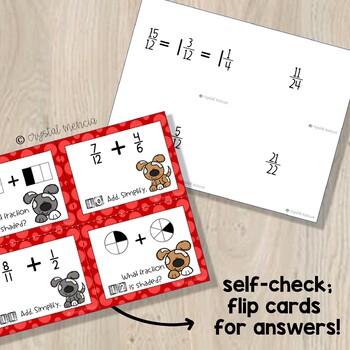 5NF1 Adding Fractions (Unlike Denominators) MATH TASK CARDS