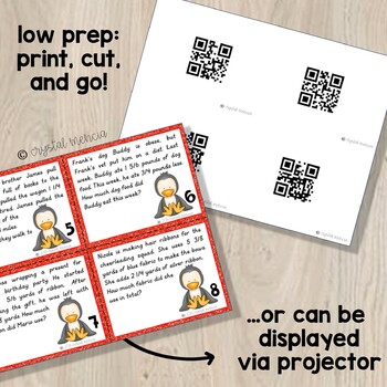 5NF2 +/- Fraction Word Problems (Unlike Denominators) MATH TASK CARDS for 5th Gr