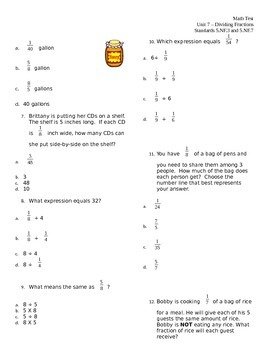 5.NF.3 & 5.NF.7 Divide Fractions ASSESSMENT Test
