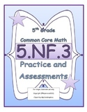 5.NF.3 5th Grade Common Core Math Practice or Assessments Fractions and Division