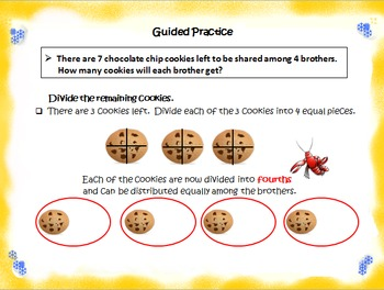 5.NF.3 Dividing Whole Numbers Using Picture Models with Mixed Number Quotients