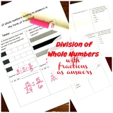 5.NF.B.3 - Division of Whole Numbers With Answers that are Fractions Assessment