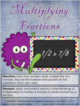 5.NF.4 Fifth Grade Common Core Worksheets, Activity, and Poster