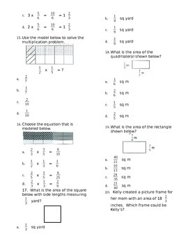 5.NF.4 Multiply Fractions ASSESSMENT Test