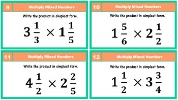5.NF.4 Multiply Mixed Numbers Task Cards