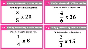 5.NF.4 Multiplying Fractions Task Cards