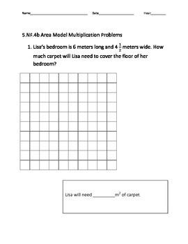 5.NF.4b Area Model Multiplication Problems
