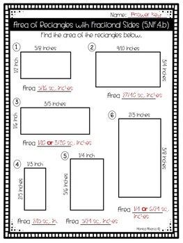 5.NF.4.b - Area of Rectangles with Fractional Sides Worksheet/Test