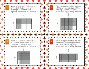 5.NF.4 Multiplying Fractions & Rectangles w/ Fractional Side Lengths Task Cards