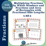 5.NF.4 Task Cards Multiply Fractions and Rectangles with Fractional Side Lengths