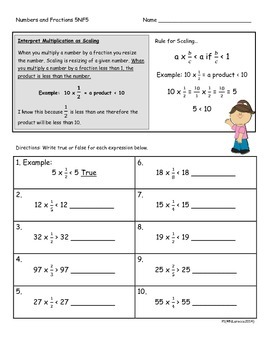 5.NF.5 5th Grade Common Core Math Practice or Assessments Scaling and Fractions