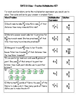 5.NF.5 & 6 Quiz (KEY INCLUDED)